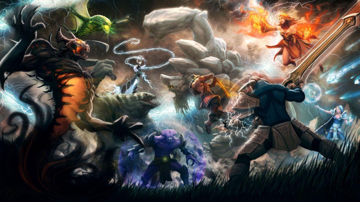 Dota 2 Fantasy Warrior Battle F Wallpaper 3556x2000 136443 Wallpaperup