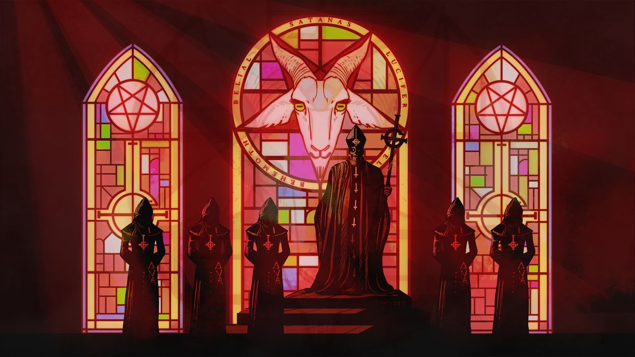 Ghost B_C heavy metal black death dark satanic occult satan wallpaper