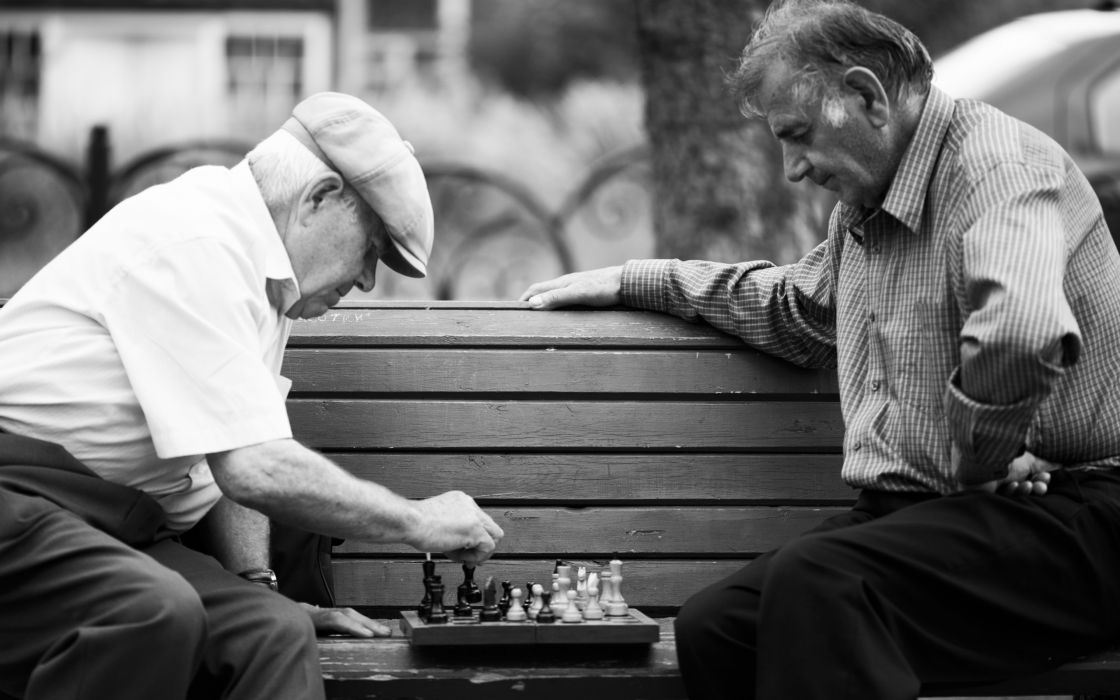 park chess game bench people wallpaper