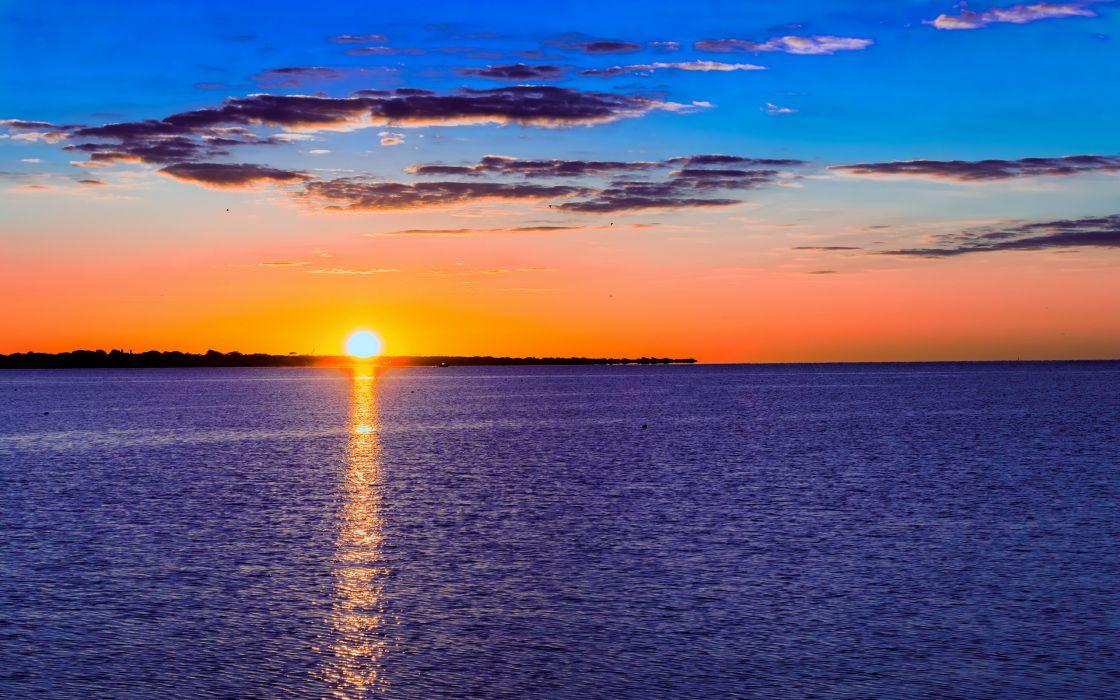 sea aeYaeY sunset  landscape sky clouds ocean wallpaper