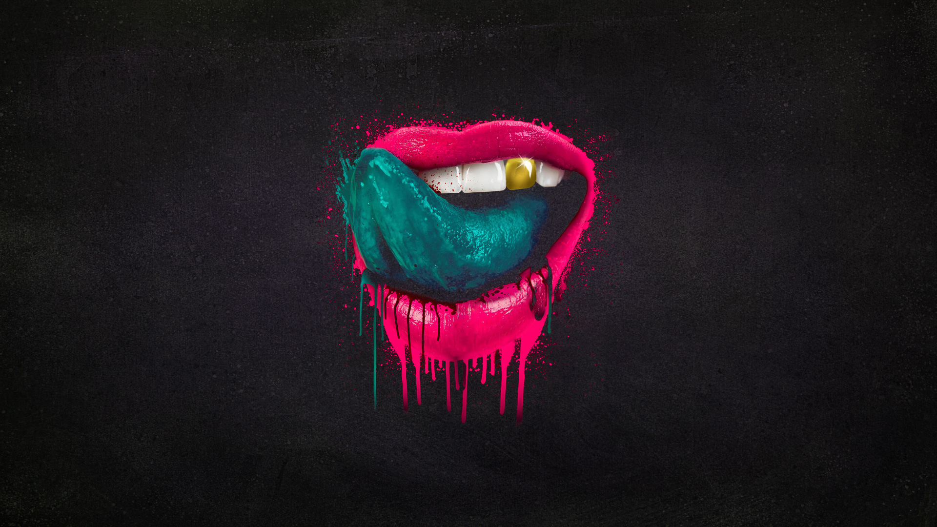 mouth tongue splatter lips paint wallpaper | 1920x1080 | 136921