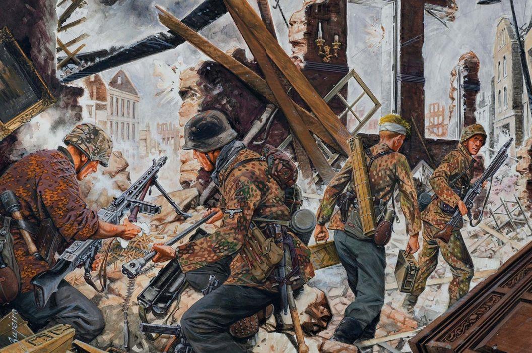 Painting Art Soldiers Machine guns Army battle war military wallpaper