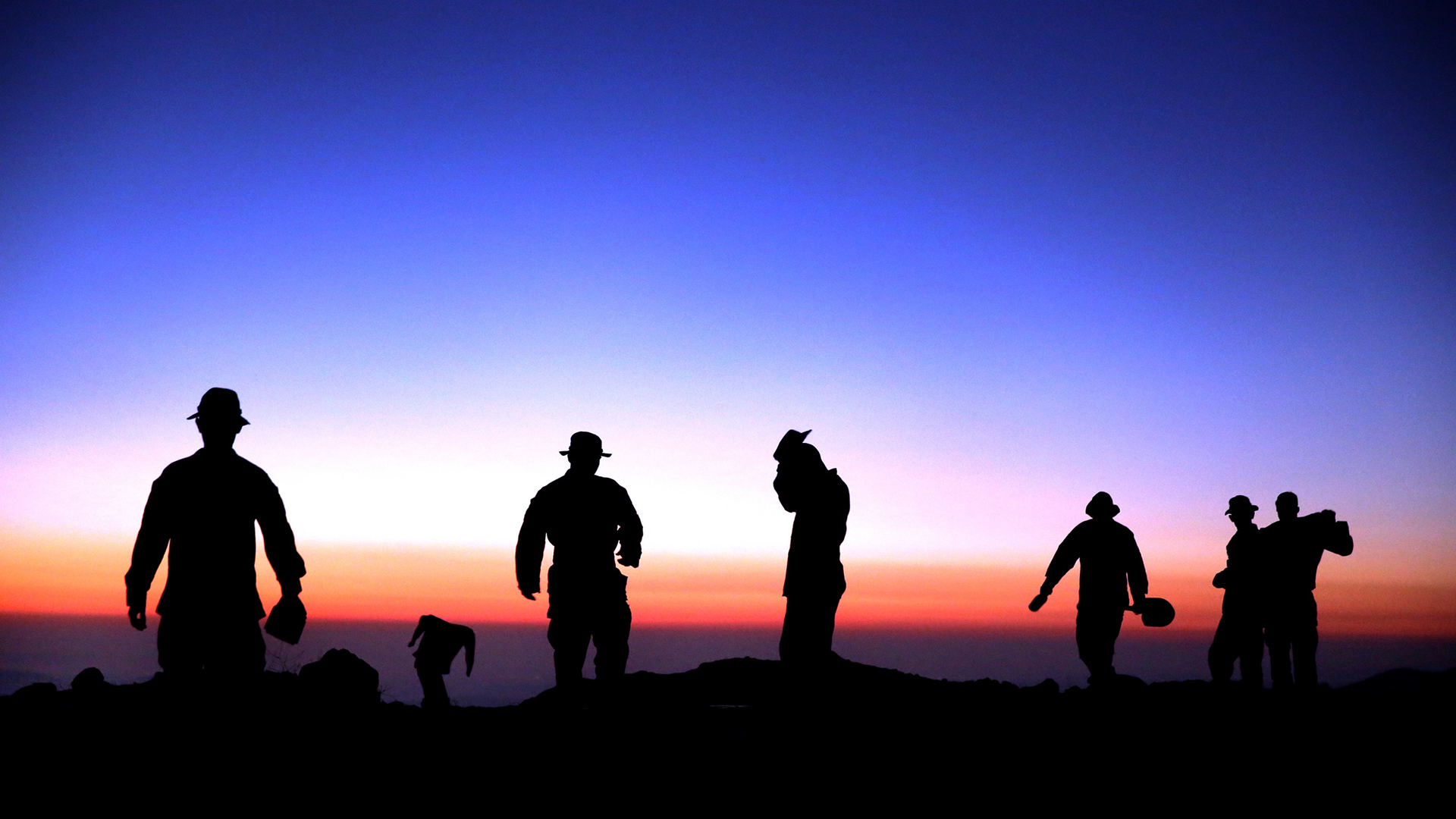 Soldiers Silhouette Sunset Military Wallpaper 1920x1080 136951