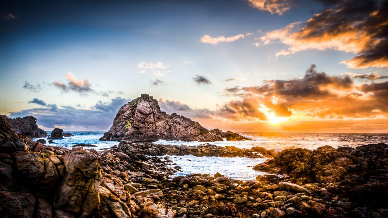 Sunset Sunlight Rocks Stones Ocean wallpaper