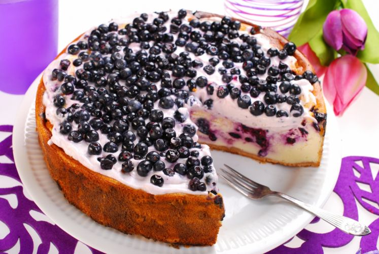 Sweets Cakes Currant Fork Food wallpaper
