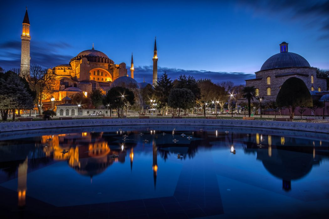 Turkey Fountains Houses Istanbul Ayasofya Night Cities wallpaper