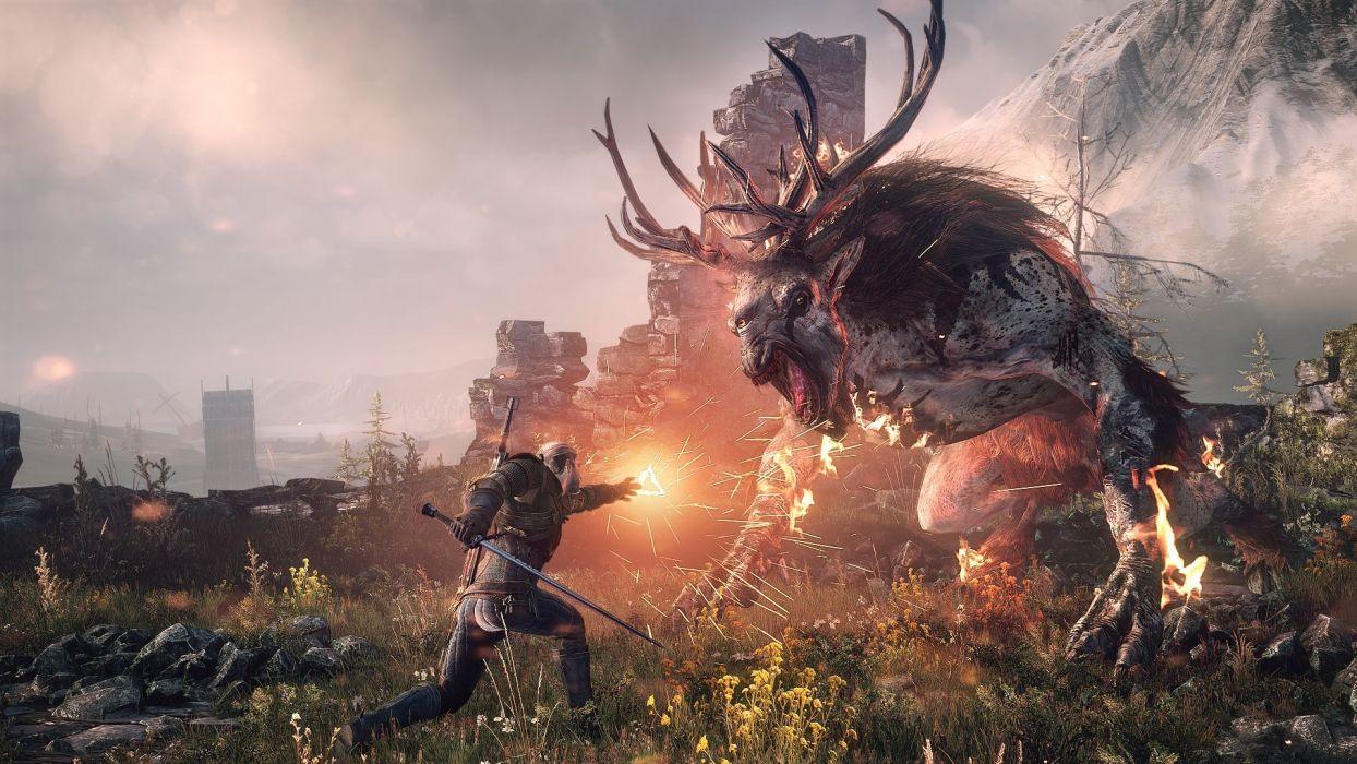 Witcher 3 Wild Hunt Magic Monster Battles Warrior Horns Armor Swords Games wallpaper