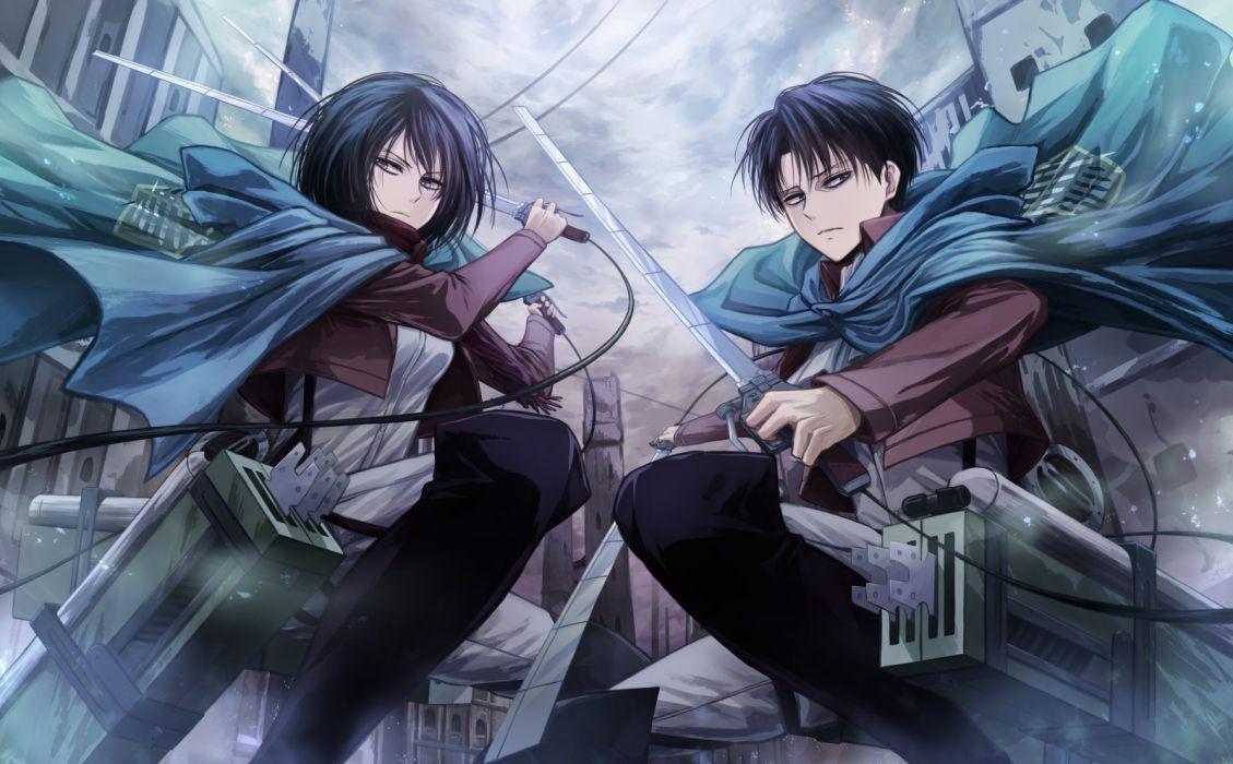 shingeki no kyojin black hair blue eyes cape gray eyes mikasa ackerman rivaille scarf shingeki no kyojin short hair sword uniform weapon wallpaper