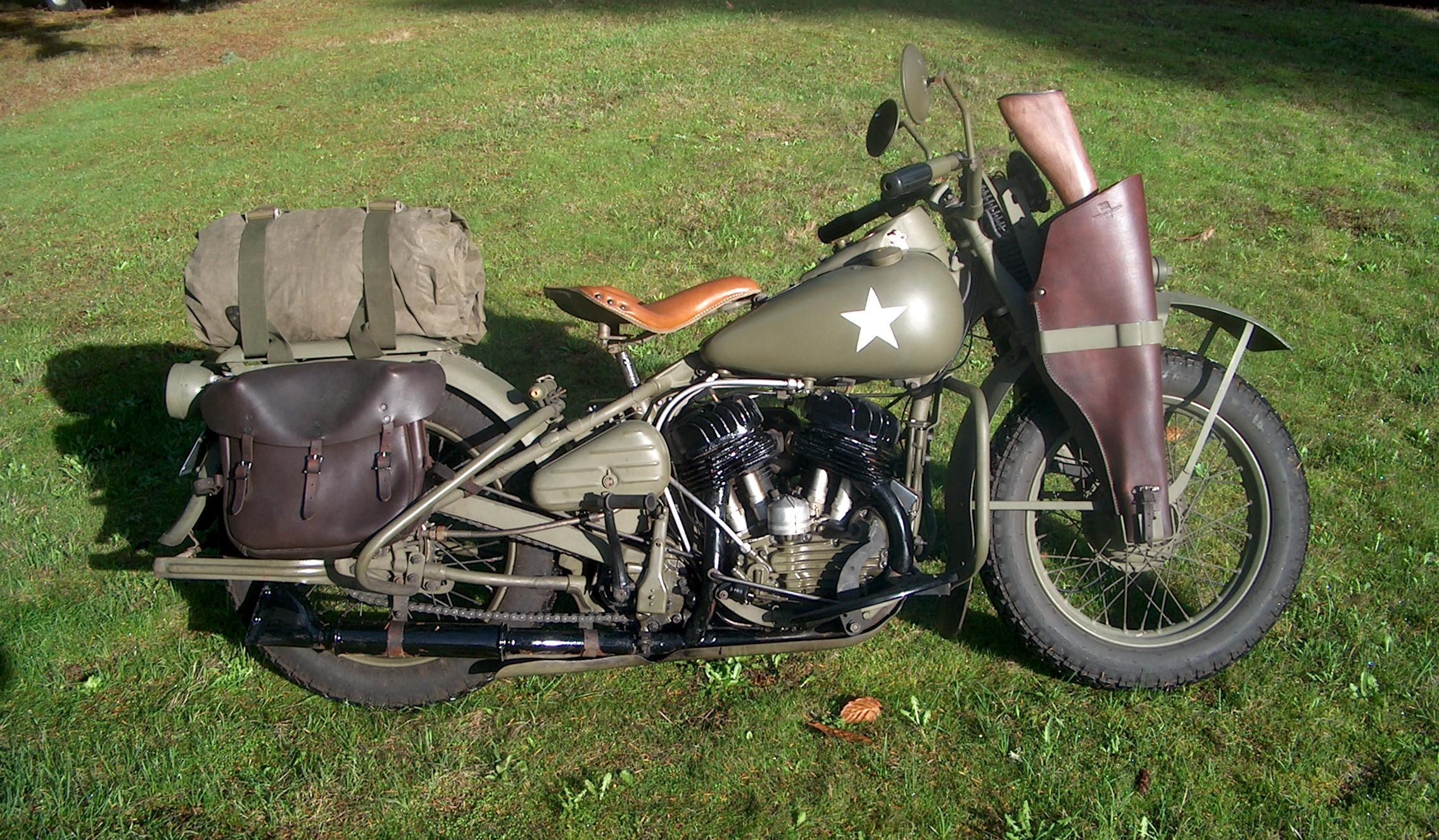 Harley Davidson Army: 1942 Harley Davidson WLA Military Type-VII Retro Wallpaper