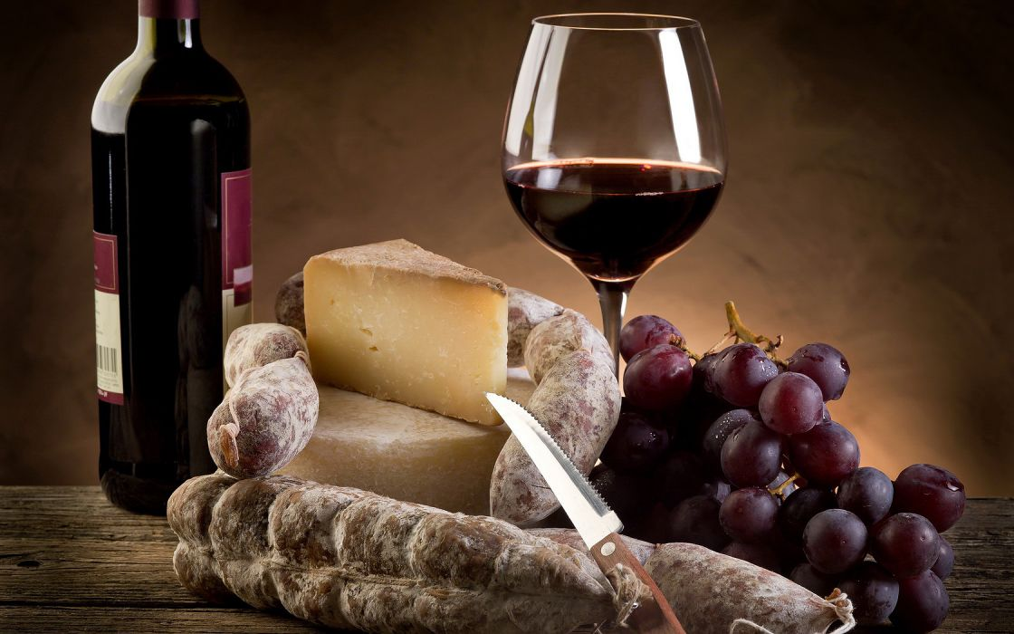 Wine Cheese Grapes wallpaper