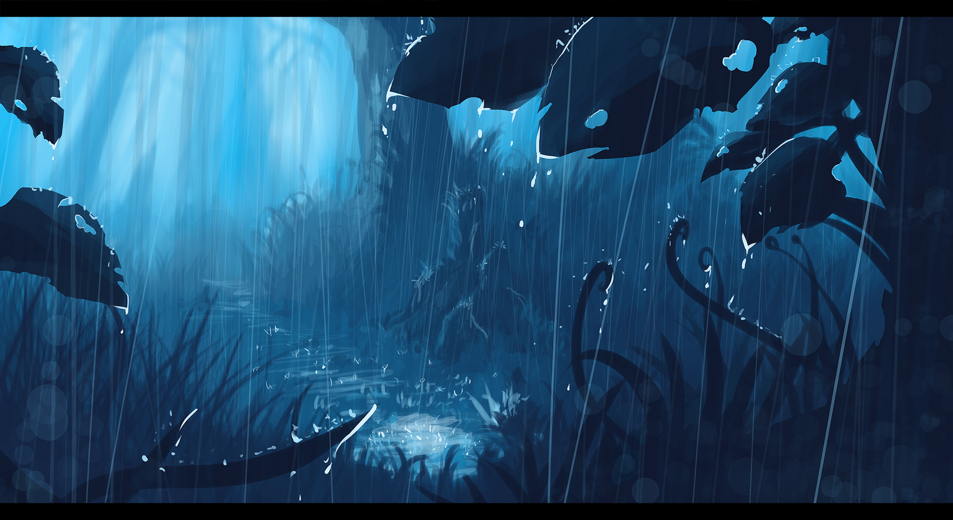 anime rain green wallpaper - photo #2