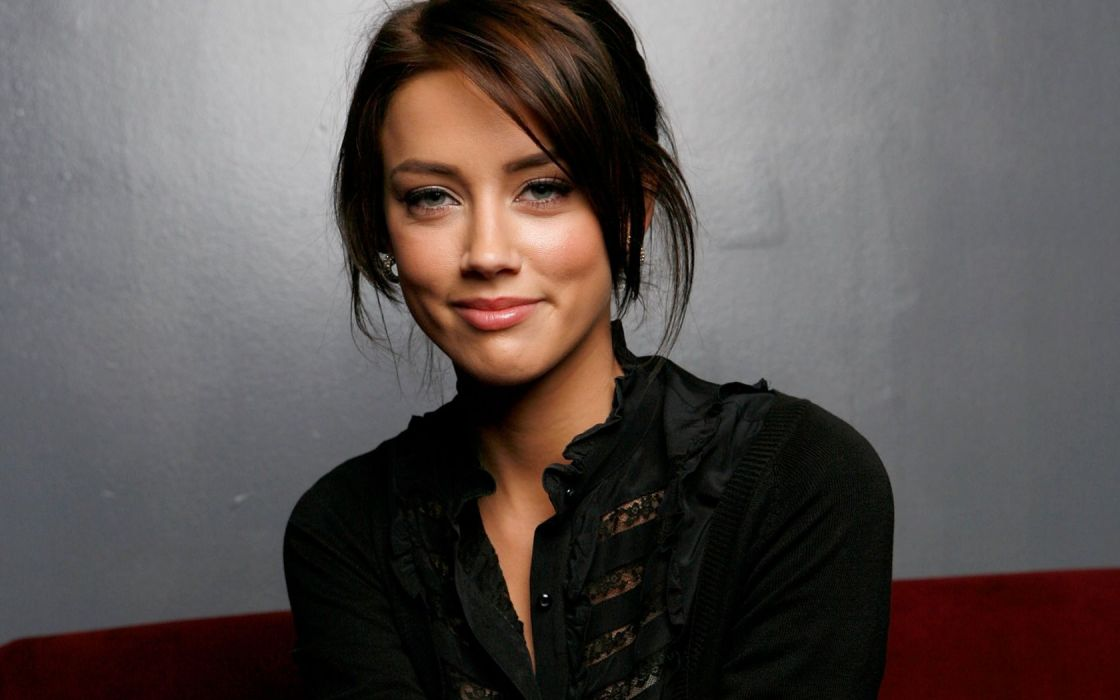 Amber heard woman girl actress brunette brown eyes beauty black amber heard woman girl actress brunette brown eyes beauty black shirt earrings red lipstick wallpaper sciox Image collections