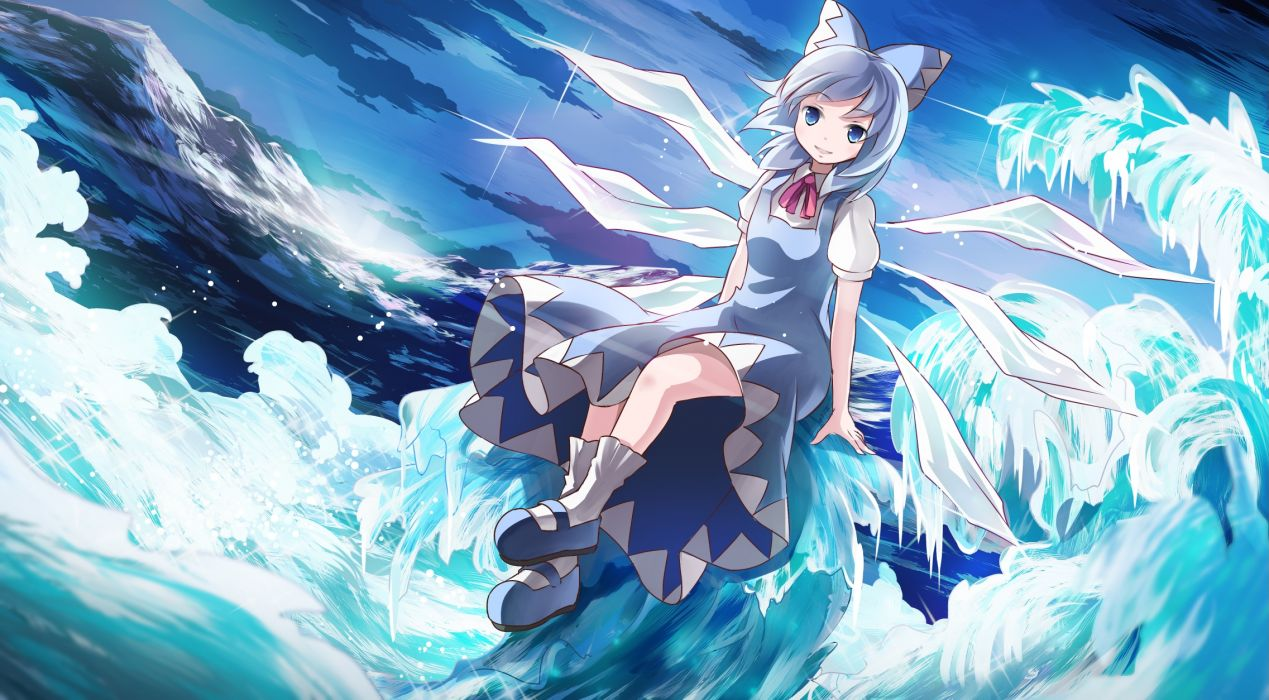touhou blue eyes blue hair bow cirno dress risutaru short hair socks touhou water wings wallpaper