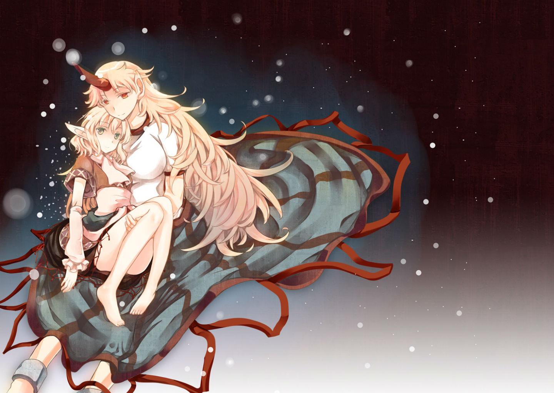 Touhou girls atoki barefoot blonde hair breasts dress green eyes horns