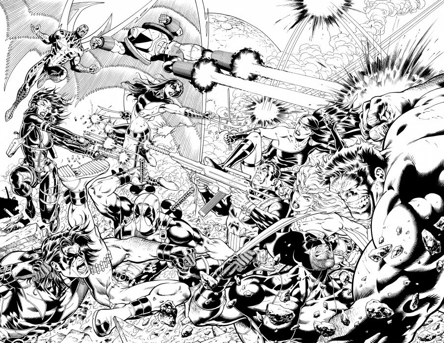 marvel deadpool hulk battle punisher wallpaper