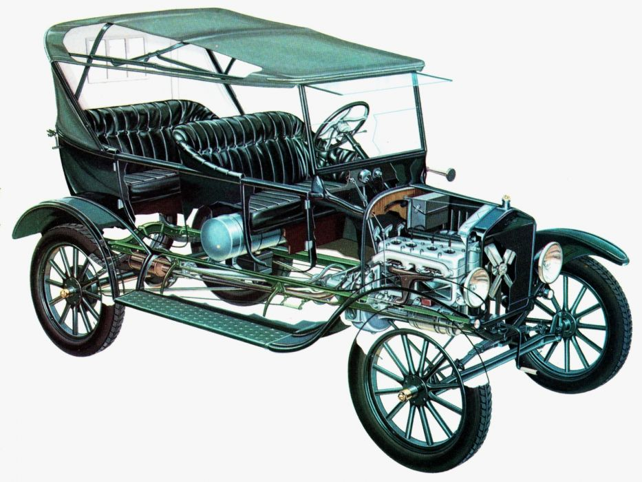 1913 Ford Model-T Touring retro engine interior         h wallpaper
