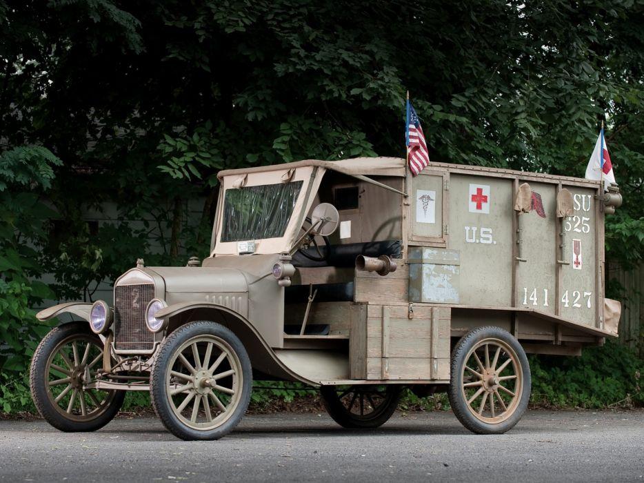 1917 Ford Model-T Ambulance emergency military retro wallpaper