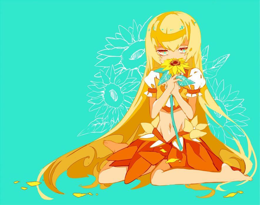 heartcatch precure! barefoot blonde hair cure sunshine cyan flowers heartcatch precure! long hair myoudouin itsuki navel petals precure skirt sunflower yuucho (cololal) wallpaper