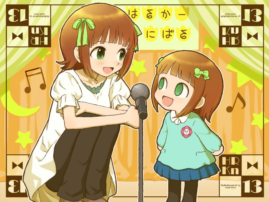 idolmaster girls amami haruka bow brown hair green eyes hiboshi daizu idolmaster nonowa ribbons short hair wallpaper