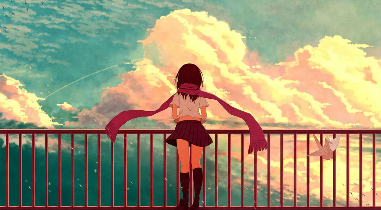 kagerou project aya (star) brown hair clouds kagerou project kneehighs paper scarf skirt sky tateyama ayano wallpaper