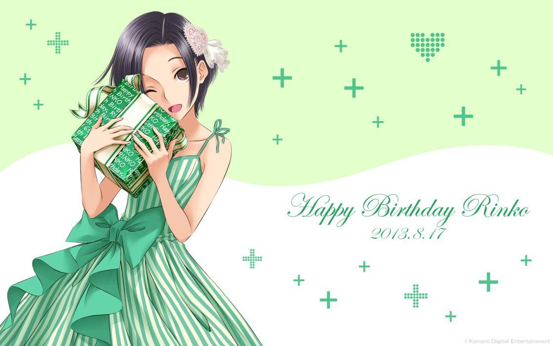 love plus black hair bow brown eyes dress kobayakawa rinko love plus mino taro ribbons short hair wink wallpaper