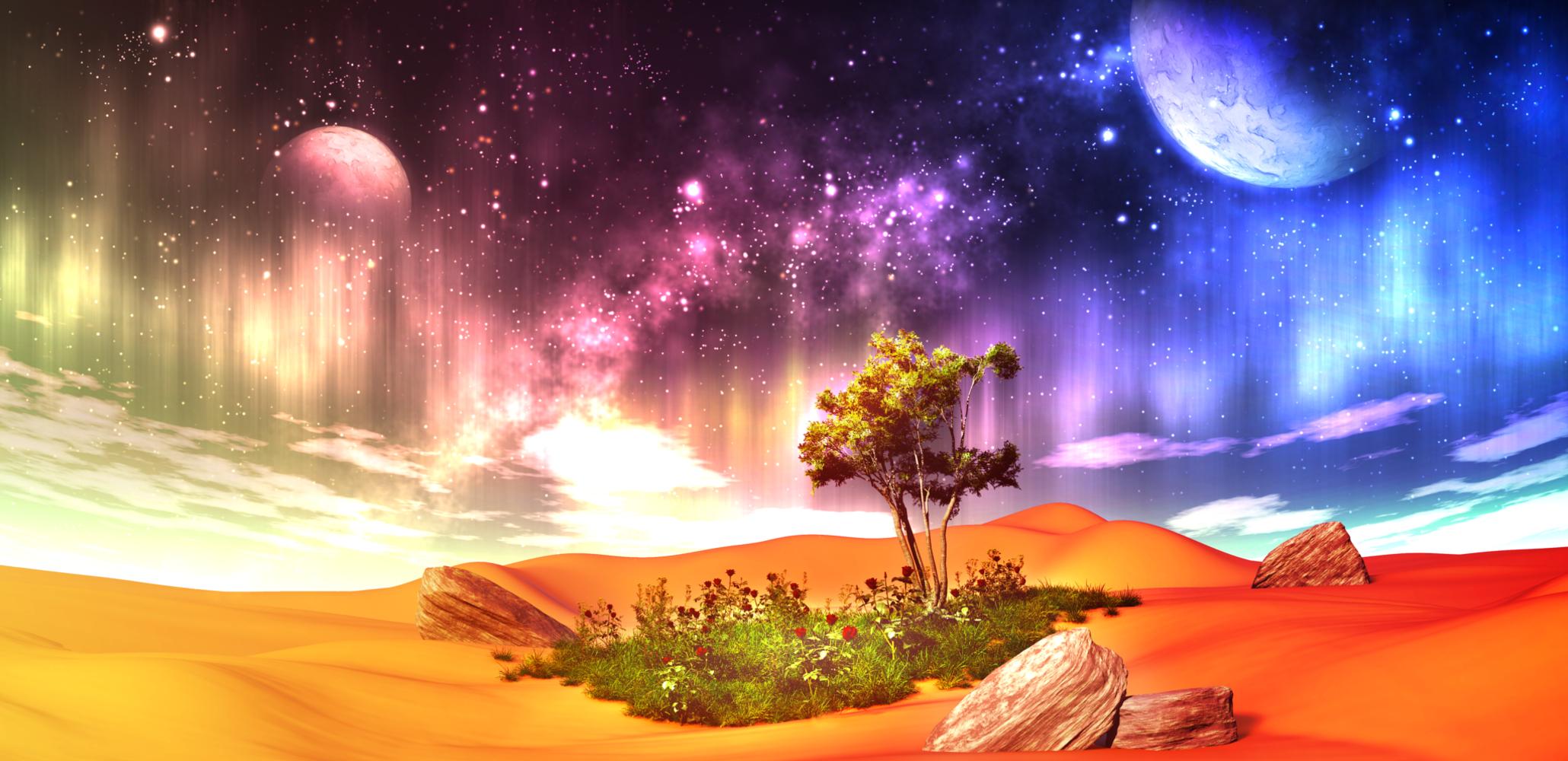original 3d clouds desert flowers grass landscape moon original