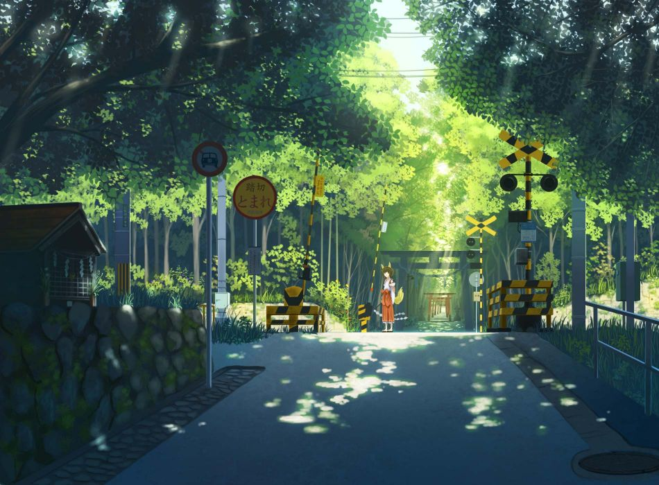 original animal ears forest foxgirl japanese clothes miko nauimusuka original short hair tail torii tree wallpaper