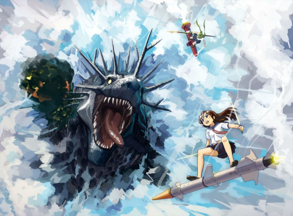 original blue eyes brown hair clouds dragon green hair long hair original seifuku skirt spear sword tie twintails upskirt weapon wallpaper