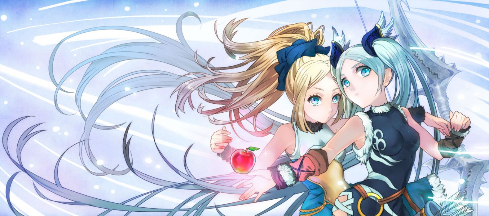 puzzle & dragons girls apple blonde hair blue eyes bow ponytail ttknok twintails weapon wallpaper