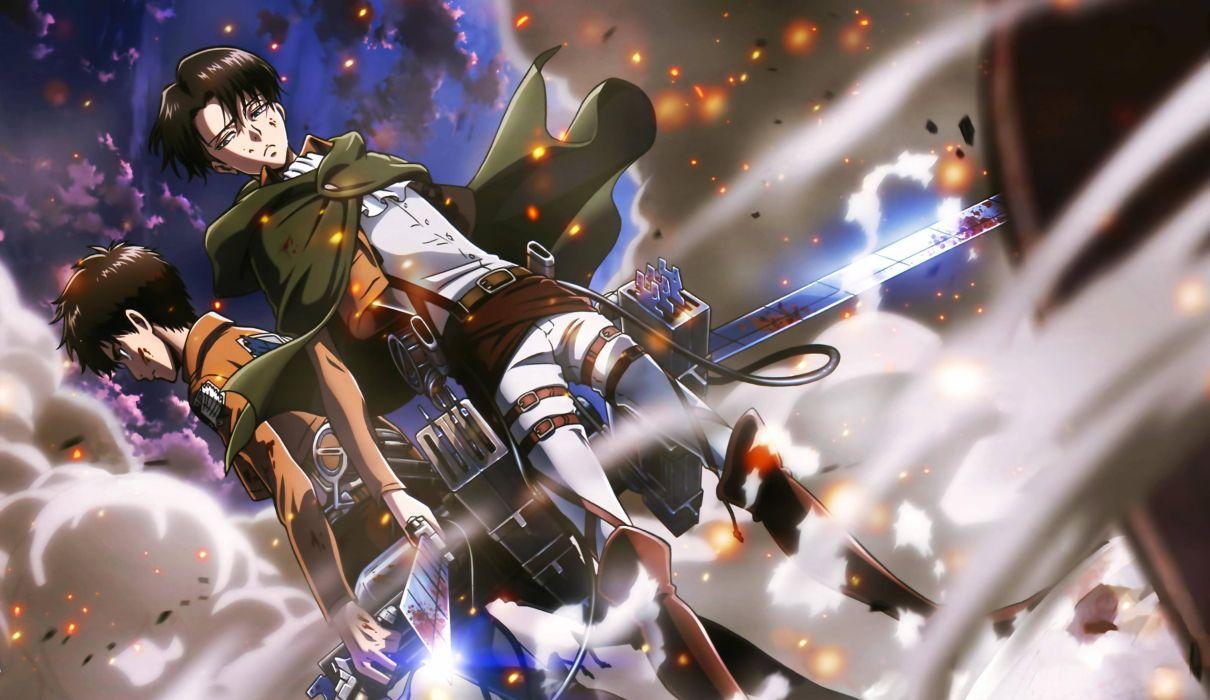 shingeki no kyojin blood eren jaeger male rivaille shingeki no kyojin weapon wallpaper