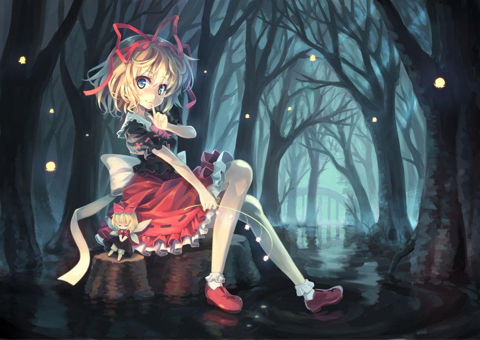 touhou blonde hair blue eyes doll dress forest medicine melancholy orita enpitsu ribbons su-san touhou wallpaper