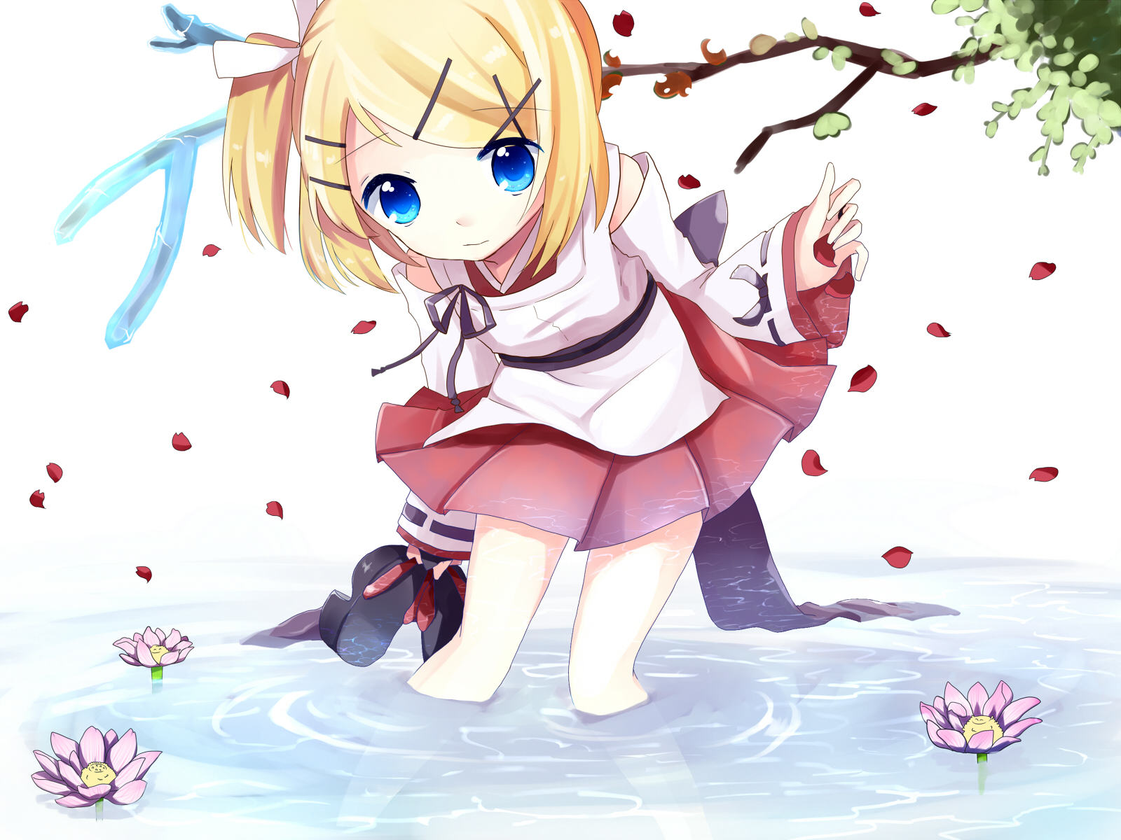 Vocaloid Blonde Hair Blue Eyes Flowers Japanese Clothes