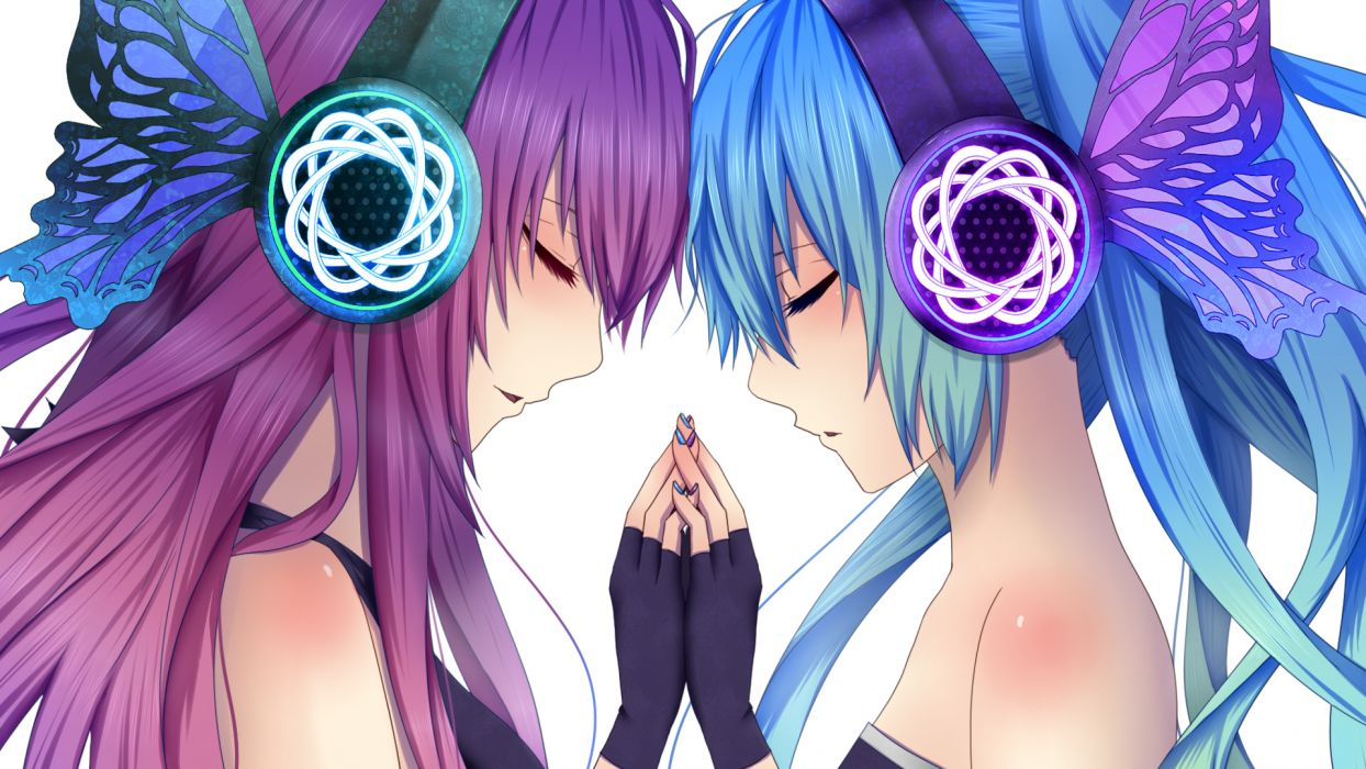 vocaloid girls blue hair daburu gloves hatsune miku headphones long hair magnet (vocaloid) megurine luka purple hair vocaloid wallpaper