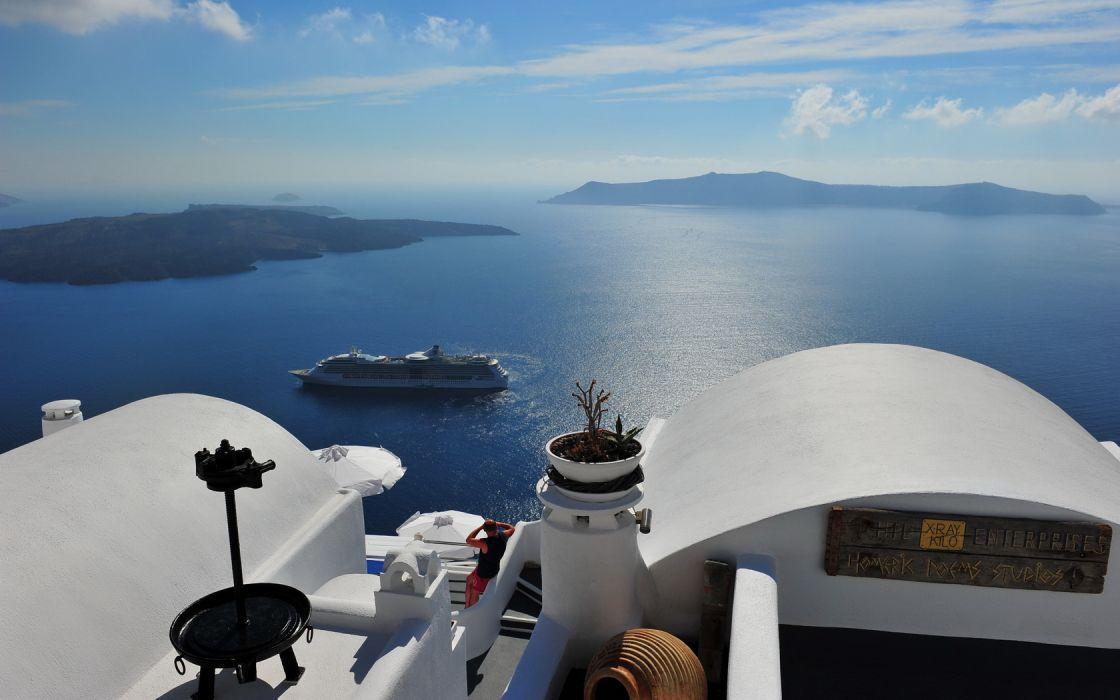 Santorini Greece View Panorama Sea Ship wallpaper