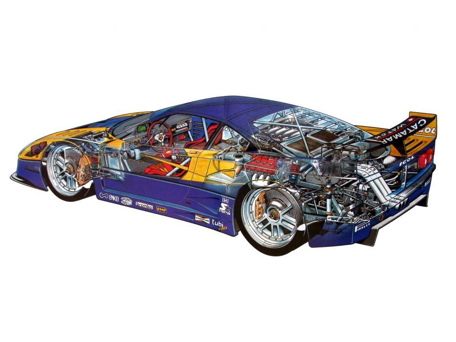 1989 Ferrari F40 G-T race racing supercar engine interior wallpaper