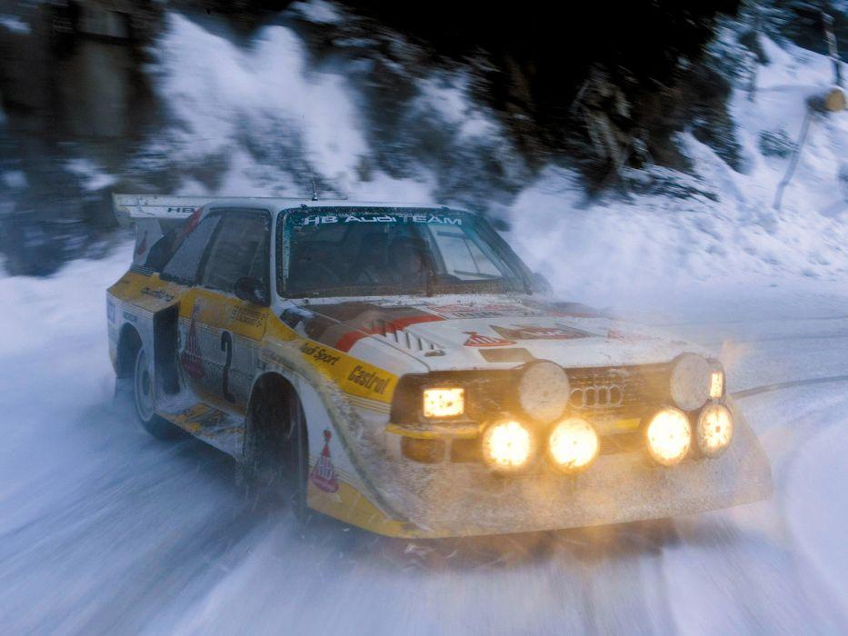 1985 Audi Sport quattro S-1 Group-B Rally race racing winter snow      f wallpaper
