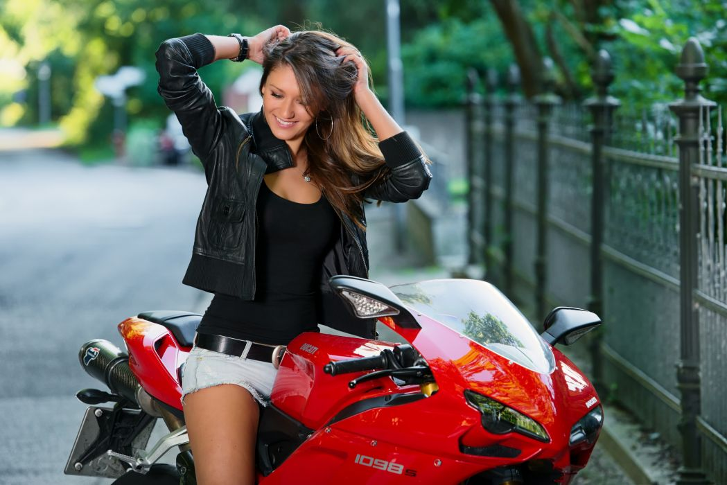 Ducati motorcycle road smile sexy brunette    g wallpaper
