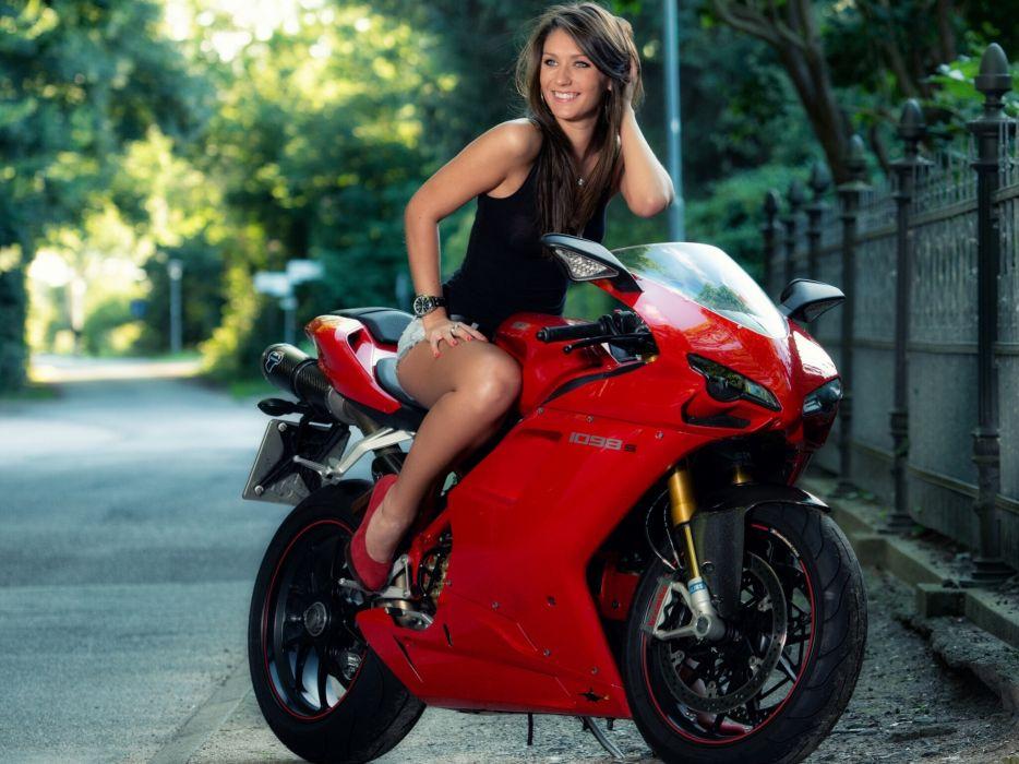Ducati motorcycle road smile sexy brunette wallpaper