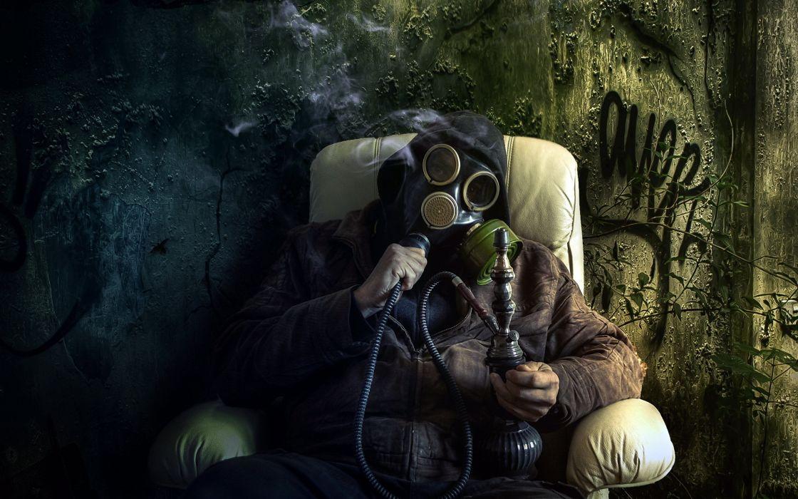 Anarchy Marijuana Ween Bong 420 Gas Mask Dark Drugs Sadic