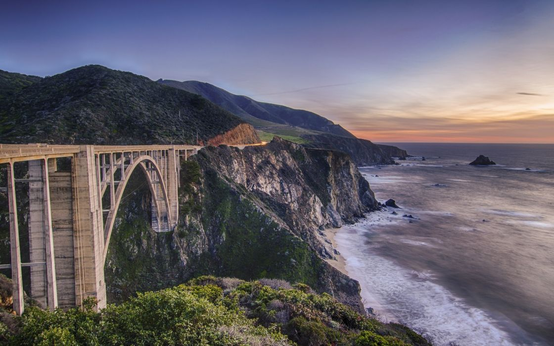 mountains coast ocean bridge cliff sea sunset sunrise wallpaper