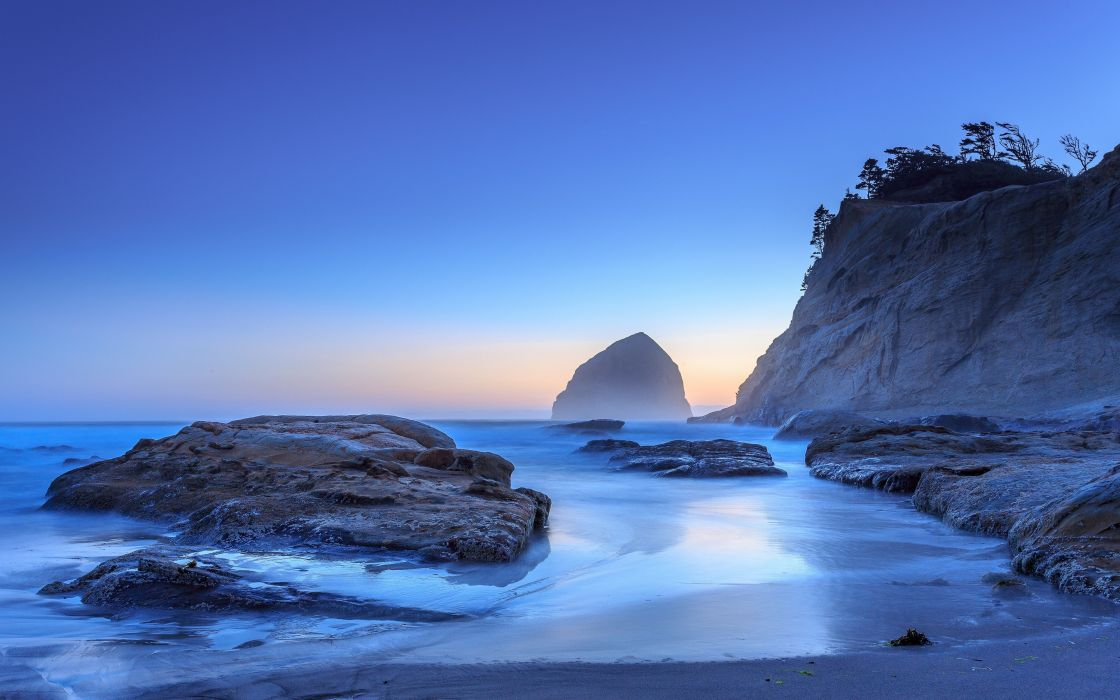 Oregon Pacific Ocean beach sunrise sunset sea wallpaper