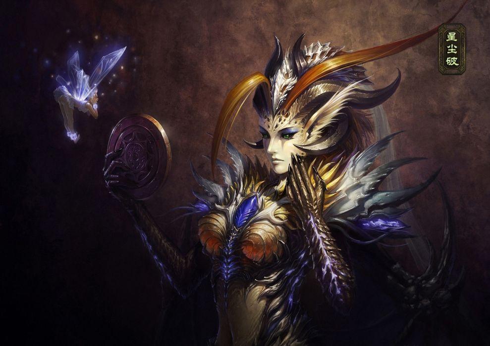 Art Fairy Wings Horns Demon Wallpaper