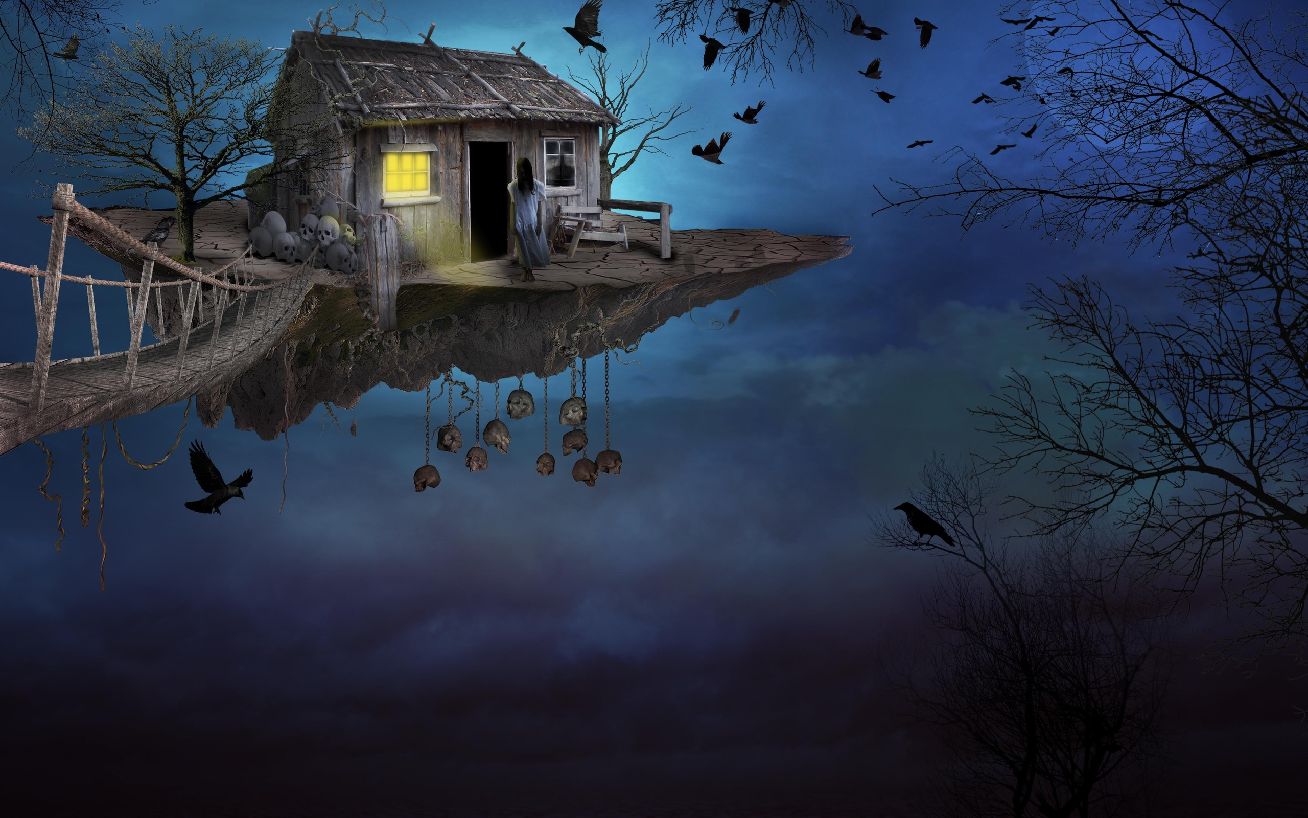 Art sky bridge island girl house bird fantasy wallpaper - Fantasy wallpaper bridge ...