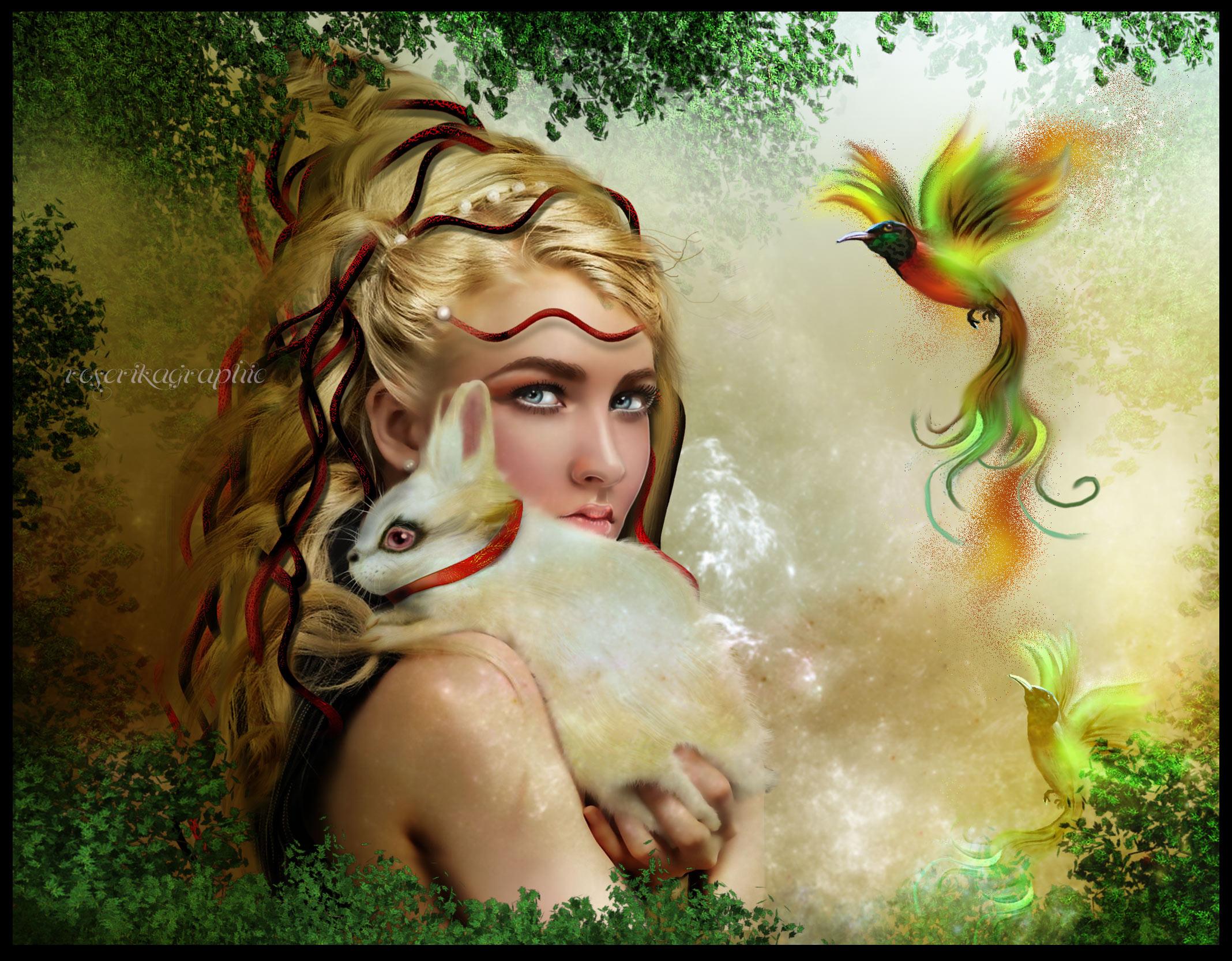 fairy rabbit bird fantasy g wallpaper | 2136x1666 | 143896