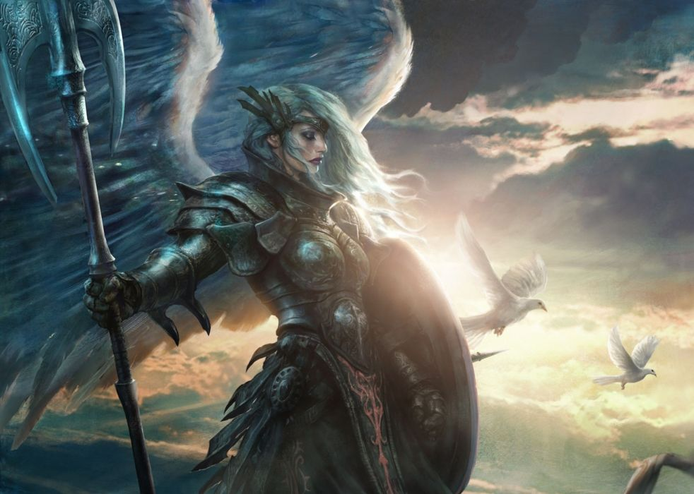 Warrior Fantasy Art Armor Angel Magic Wallpapers Hd: Girl Angel Arms Wings Art Warrior Wallpaper