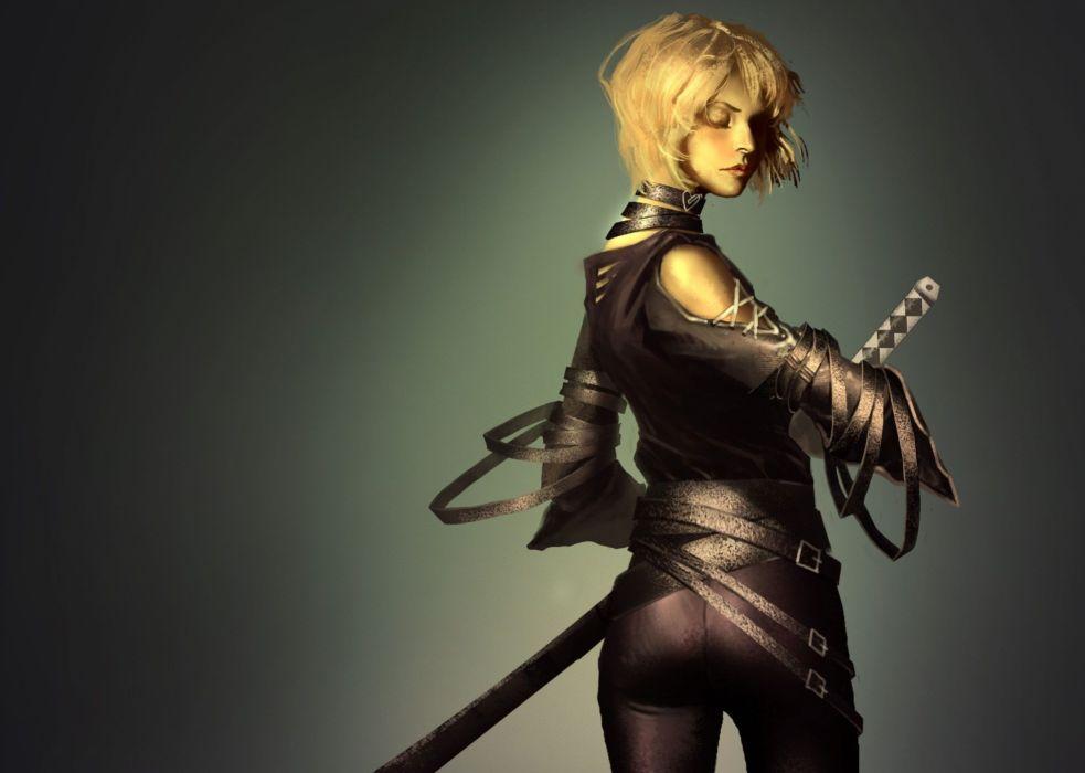 Girl sword katana art back warrior blonde wallpaper - Girl with sword wallpaper ...