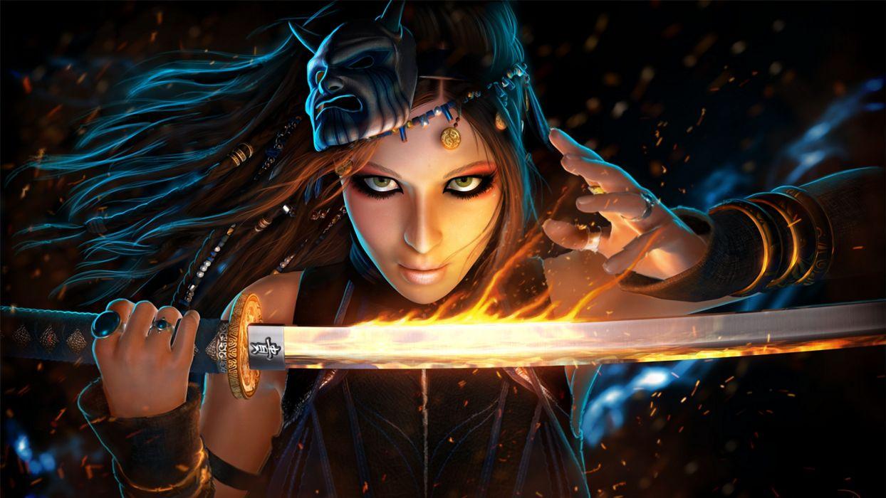 Closeup Glance Sabre Face Fantasy Girls warrior magic katana girl wallpaper