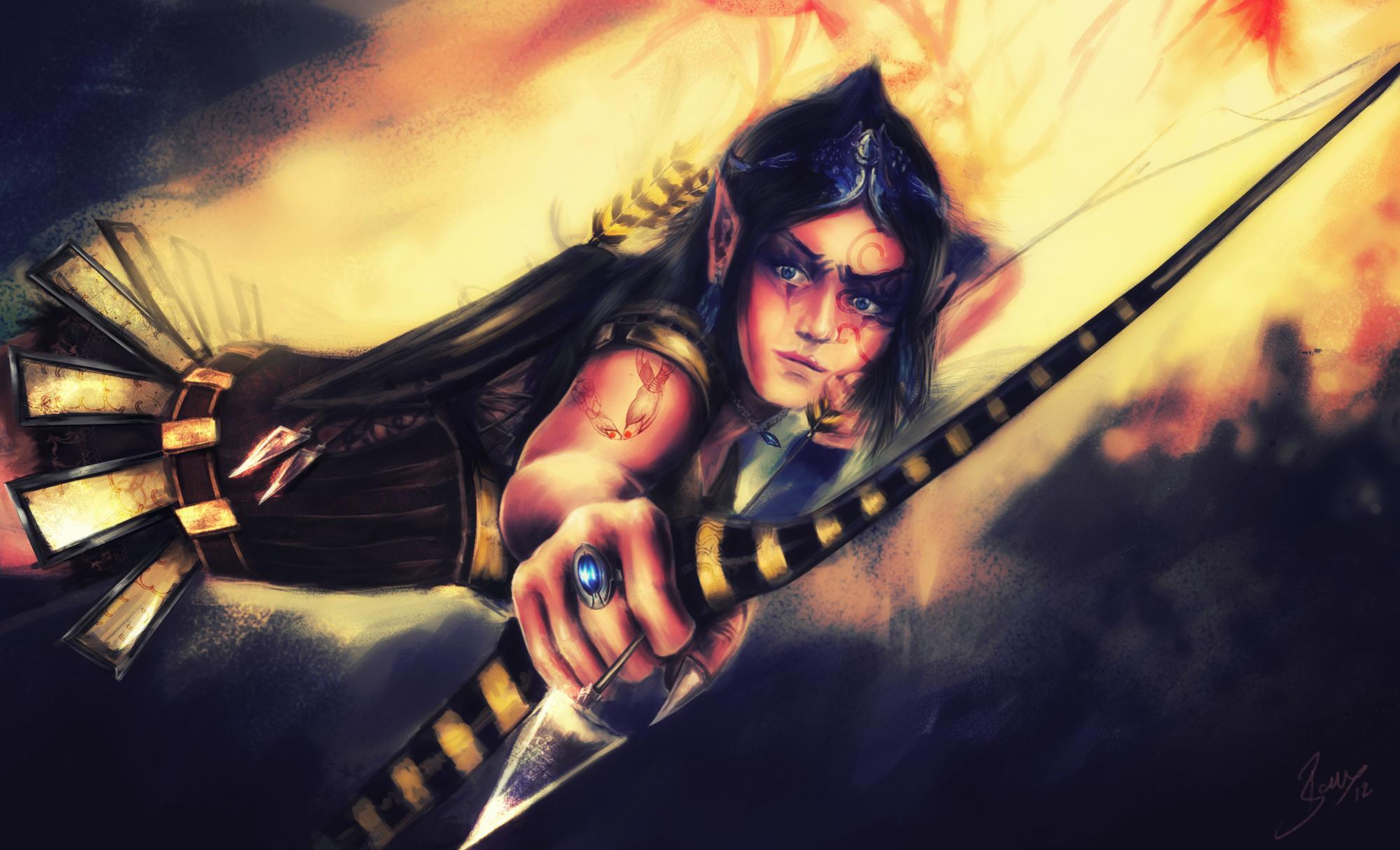 elves warrior archer painting art fantasy girl wallpaper