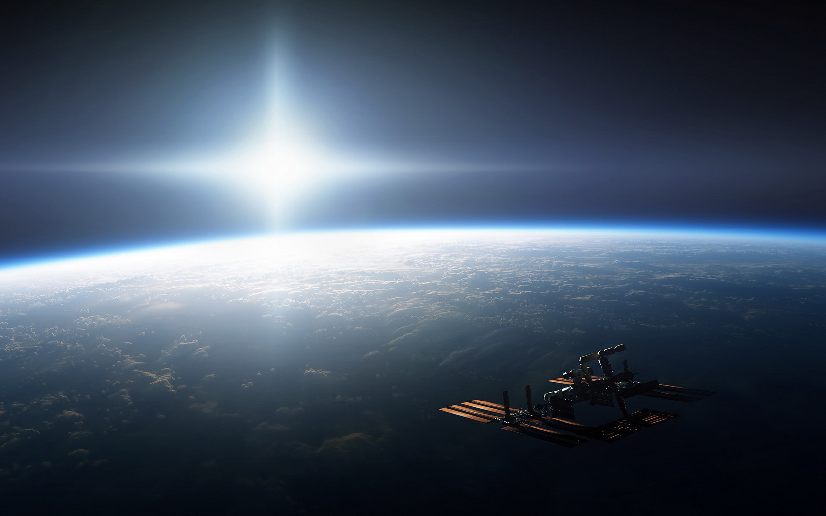 Earth from space sun space station wallpaper 1680x1050 - Space station wallpaper ...