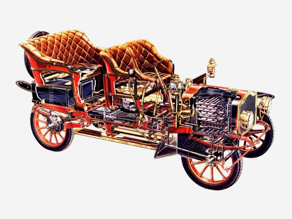 1906 Serpollet Steam retro engine interior wallpaper